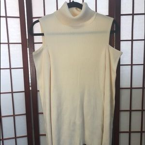 DKNY open shoulder ribbed turtle neck sweater Sz M